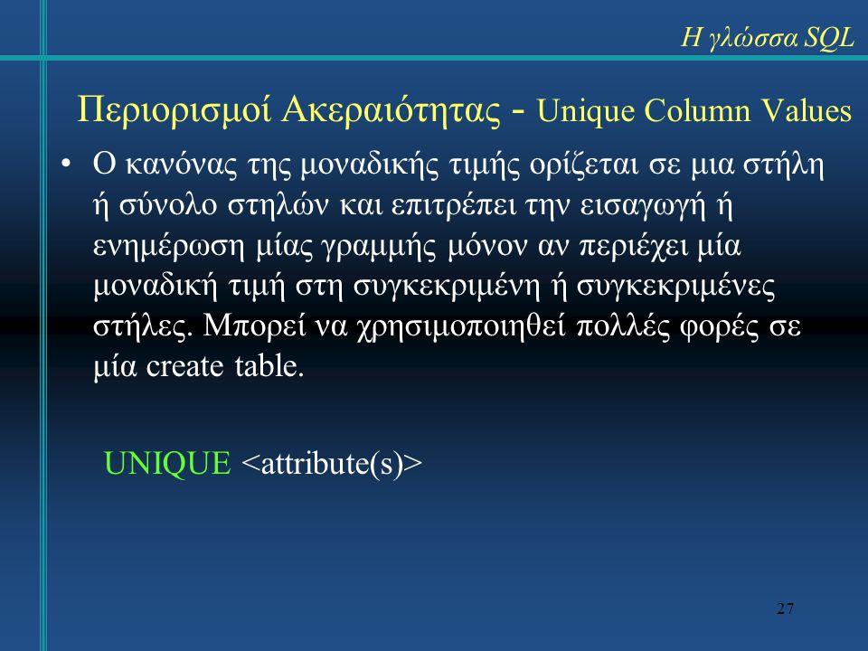 27 Περιορισμοί Ακεραιότητας - Unique Column Values Ο κανόνας της μοναδικής τιμής ορίζεται σε μια στήλη ή σύνολο στηλών και επιτρέπει την εισαγωγή ή εν
