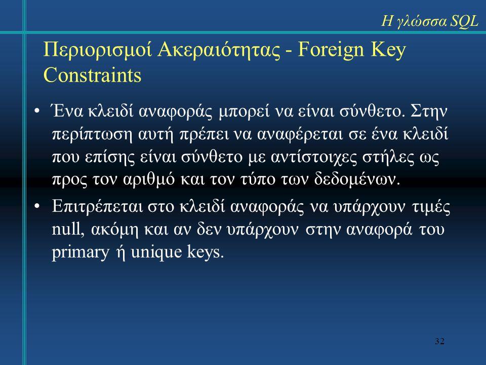 32 Περιορισμοί Ακεραιότητας - Foreign Key Constraints Ένα κλειδί αναφοράς μπορεί να είναι σύνθετο. Στην περίπτωση αυτή πρέπει να αναφέρεται σε ένα κλε