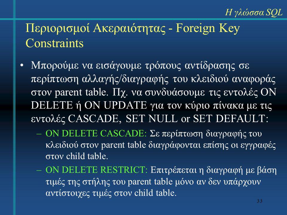 33 Περιορισμοί Ακεραιότητας - Foreign Key Constraints Μπορούμε να εισάγουμε τρόπους αντίδρασης σε περίπτωση αλλαγής/διαγραφής του κλειδιού αναφοράς στ