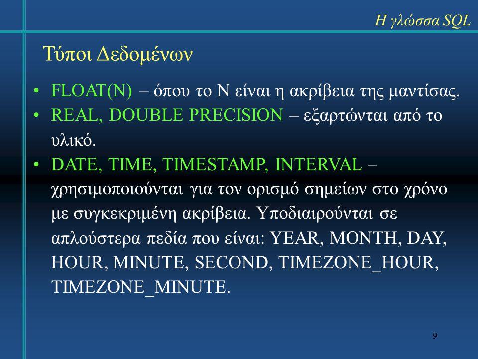 9 Η γλώσσα SQL Τύποι Δεδομένων FLOAT(N) – όπου το Ν είναι η ακρίβεια της μαντίσας. REAL, DOUBLE PRECISION – εξαρτώνται από το υλικό. DATE, TIME, TIMES