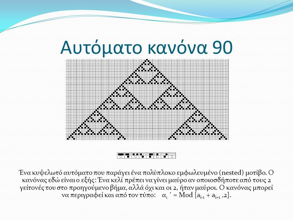 Αυτόματο κανόνα 90 Ένα κυψελωτό αυτόματο που παράγει ένα πολύπλοκο εμφωλευμένο (nested) μοτίβο. Ο κανόνας εδώ είναι ο εξής: Ένα κελί πρέπει να γίνει μ