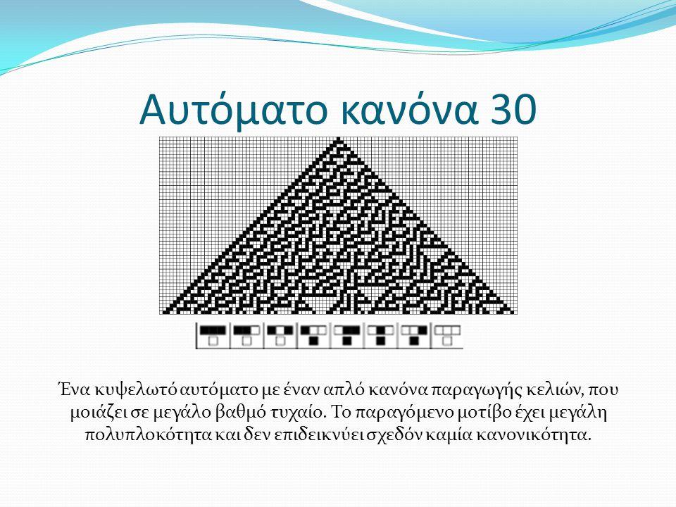 Αυτόματο κανόνα 30 Ένα κυψελωτό αυτόματο με έναν απλό κανόνα παραγωγής κελιών, που μοιάζει σε μεγάλο βαθμό τυχαίο. Το παραγόμενο μοτίβο έχει μεγάλη πο