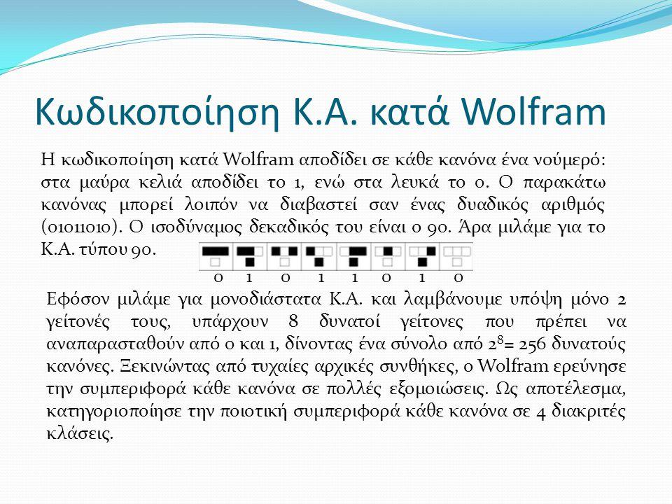 Κωδικοποίηση Κ.Α. κατά Wolfram Η κωδικοποίηση κατά Wolfram αποδίδει σε κάθε κανόνα ένα νούμερό: στα μαύρα κελιά αποδίδει το 1, ενώ στα λευκά το 0. Ο π
