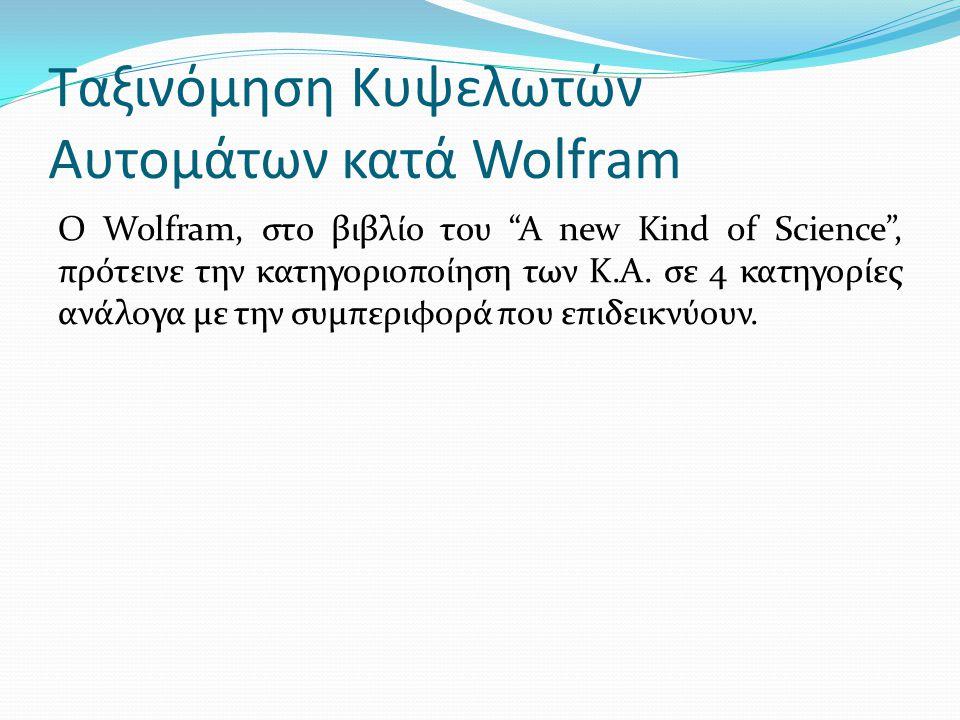 """Ταξινόμηση Κυψελωτών Αυτομάτων κατά Wolfram O Wolfram, στο βιβλίο του """"A new Kind of Science"""", πρότεινε την κατηγοριοποίηση των Κ.Α. σε 4 κατηγορίες α"""