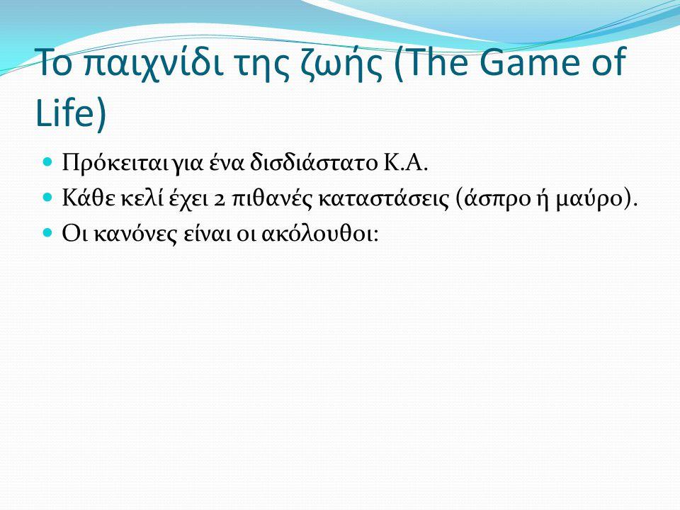 Το παιχνίδι της ζωής (The Game of Life) Πρόκειται για ένα δισδιάστατο Κ.Α. Κάθε κελί έχει 2 πιθανές καταστάσεις (άσπρο ή μαύρο). Οι κανόνες είναι οι α