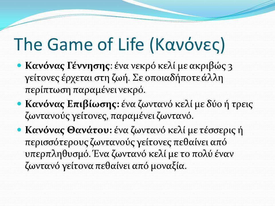 The Game of Life (Κανόνες) Κανόνας Γέννησης: ένα νεκρό κελί με ακριβώς 3 γείτονες έρχεται στη ζωή. Σε οποιαδήποτε άλλη περίπτωση παραμένει νεκρό. Κανό