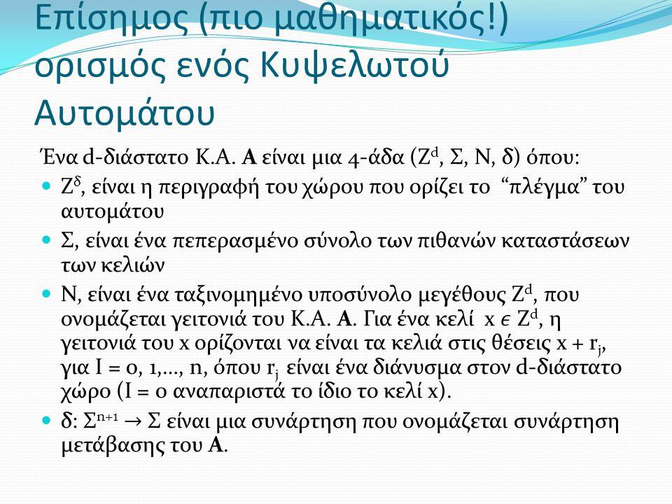 Επίσημος (πιο μαθηματικός!) ορισμός ενός Κυψελωτού Αυτομάτου