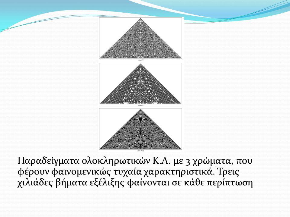 Παραδείγματα ολοκληρωτικών Κ.Α. με 3 χρώματα, που φέρουν φαινομενικώς τυχαία χαρακτηριστικά. Τρεις χιλιάδες βήματα εξέλιξης φαίνονται σε κάθε περίπτωσ