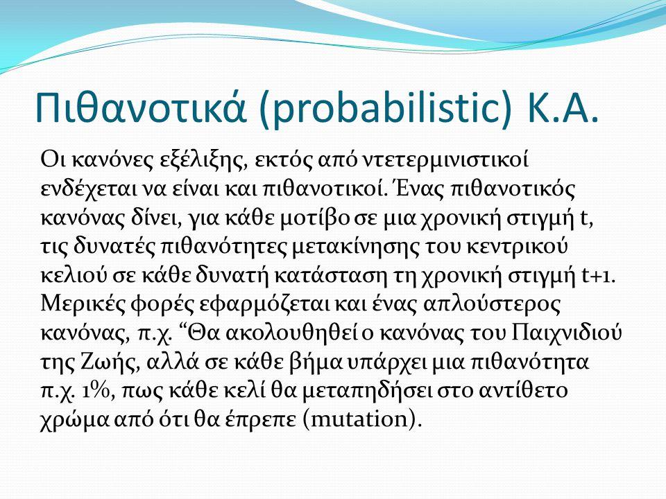Πιθανοτικά (probabilistic) Κ.Α. Οι κανόνες εξέλιξης, εκτός από ντετερμινιστικοί ενδέχεται να είναι και πιθανοτικοί. Ένας πιθανοτικός κανόνας δίνει, γι