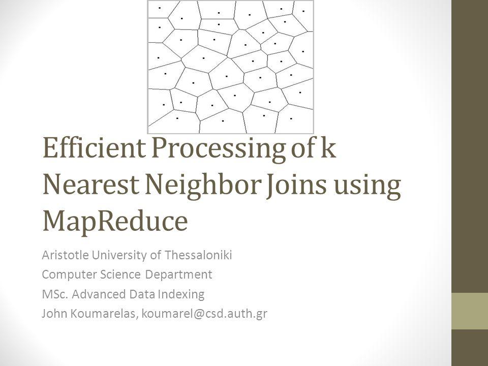 Περιεχόμενα 1.Εισαγωγή 2.Προαπαιτούμενα 3.Επισκόπηση του KNN join με MapReduce 4.Διαχείριση του KNN join με MapReduce 5.Ελαχιστοποίηση αντιγράφων του S 6.Πειραματικά αποτελέσματα
