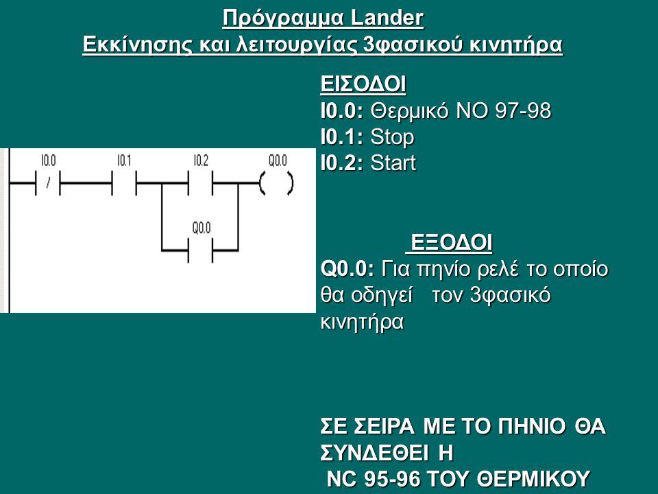 Πρόγραμμα Lander Εκκίνησης και λειτουργίας 3φασικού κινητήρα ΕΙΣΟΔΟΙ I0.0: Θερμικό ΝΟ 97-98 Ι0.1: Stop I0.2: Start ΕΞΟΔΟΙ ΕΞΟΔΟΙ Q0.0: Για πηνίο ρελέ