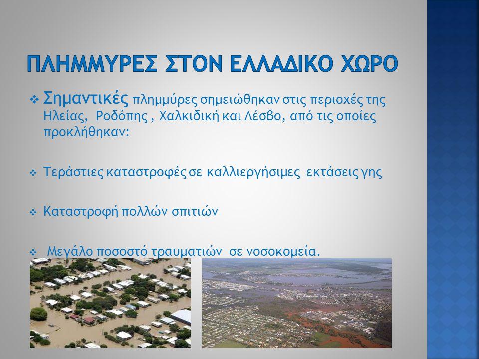  Σημαντικές πλημμύρες σημειώθηκαν στις περιοχές της Ηλείας, Ροδόπης, Χαλκιδική και Λέσβο, από τις οποίες προκλήθηκαν:  Τεράστιες καταστροφές σε καλλιεργήσιμες εκτάσεις γης  Καταστροφή πολλών σπιτιών  Μεγάλο ποσοστό τραυματιών σε νοσοκομεία.