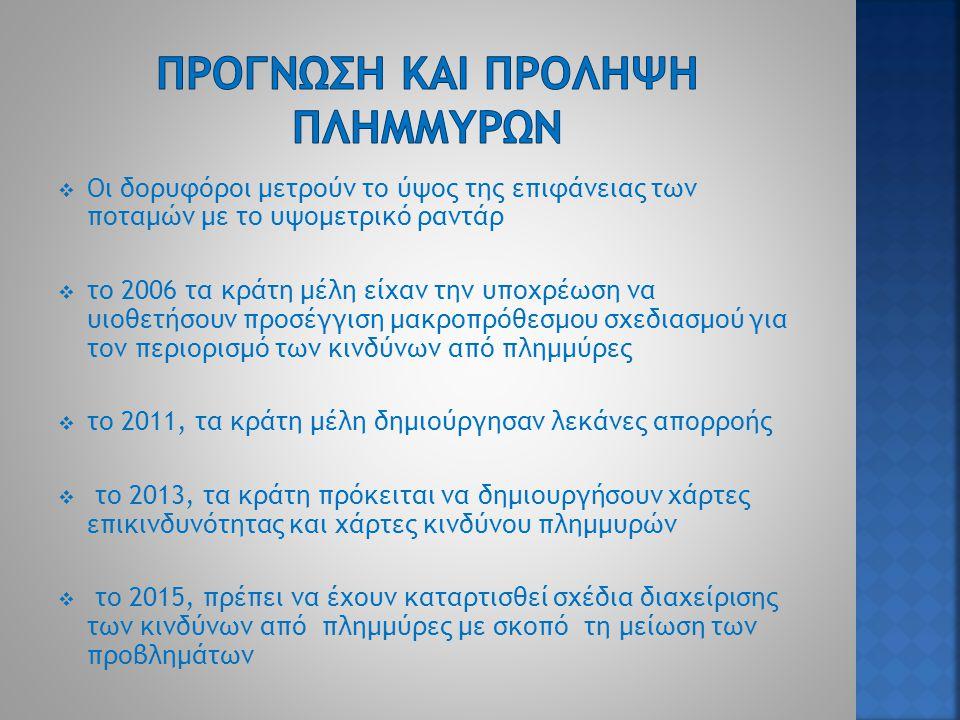  Οι δορυφόροι μετρούν το ύψος της επιφάνειας των ποταμών με το υψομετρικό ραντάρ  το 2006 τα κράτη μέλη είχαν την υποχρέωση να υιοθετήσουν προσέγγιση μακροπρόθεσμου σχεδιασμού για τον περιορισμό των κινδύνων από πλημμύρες  το 2011, τα κράτη μέλη δημιούργησαν λεκάνες απορροής  το 2013, τα κράτη πρόκειται να δημιουργήσουν χάρτες επικινδυνότητας και χάρτες κινδύνου πλημμυρών  το 2015, πρέπει να έχουν καταρτισθεί σχέδια διαχείρισης των κινδύνων από πλημμύρες με σκοπό τη μείωση των προβλημάτων