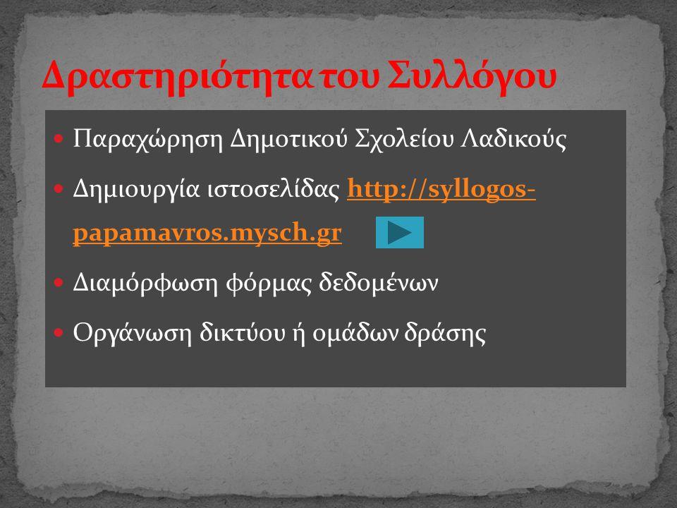 Παραχώρηση Δημοτικού Σχολείου Λαδικούς Δημιουργία ιστοσελίδας http://syllogos- papamavros.mysch.grhttp://syllogos- papamavros.mysch.gr Διαμόρφωση φόρμ
