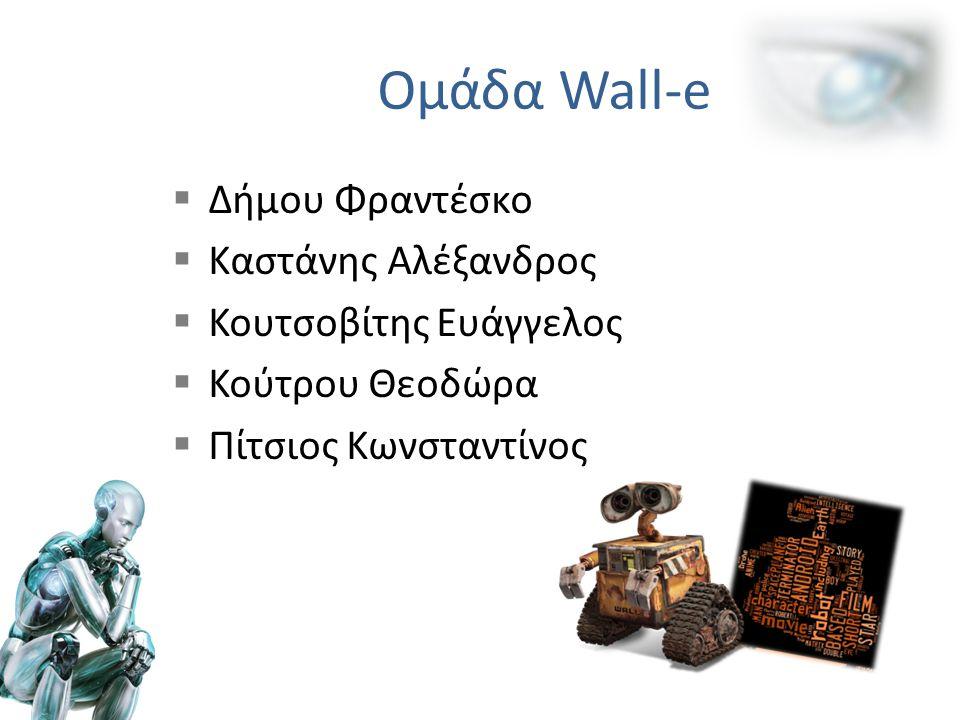 Ομάδα Wall-e  Δήμου Φραντέσκο  Καστάνης Αλέξανδρος  Κουτσοβίτης Ευάγγελος  Κούτρου Θεοδώρα  Πίτσιος Κωνσταντίνος