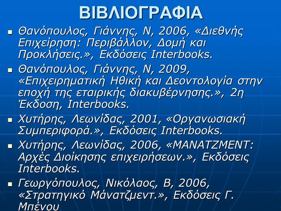 ΒΙΒΛΙΟΓΡΑΦΙΑ Θανόπουλος, Γιάννης, Ν, 2006, «Διεθνής Επιχείρηση: Περιβάλλον, Δομή και Προκλήσεις.», Εκδόσεις Interbooks.