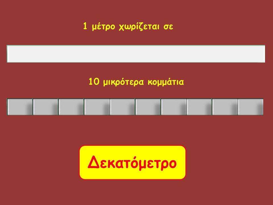 1 μέτρο χωρίζεται σε 10 μικρότερα κομμάτια Δεκατόμετρο