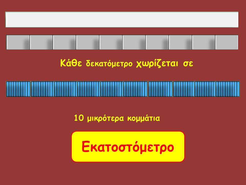 10 μικρότερα κομμάτια Εκατοστόμετρο Κάθε δεκατόμετρο χωρίζεται σε