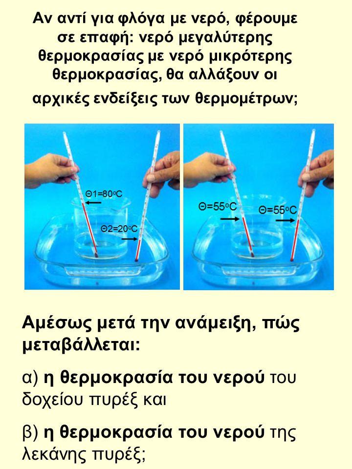 Με βάση τις αρχικές και τελικές ενδείξεις των θερμομέτρων στις παρακάνω εικόνες, από ποιο σώμα μεταφέρεται θερμότητα; Μετά την επαφή, το νερό του δοχείου με το νερό της λεκάνης αποκτούν ίσες θερμοκρασίες, οπότε σταματά η ΜΕΤΑΦΟΡΑ ΘΕΡΜΟΤΗΤΑΣ: λέμε ότι βρίσκονται σε ΘΕΡΜΙΚΗ ΙΣΟΡΡΟΠΙΑ Θτ=55 o C Θα=80 o C Θα=20 o C