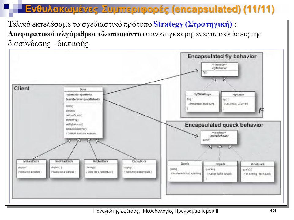 Τελικά εκτελέσαμε το σχεδιαστικό πρότυπο Strategy (Στρατηγική) : Διαφορετικοί αλγόριθμοι υλοποιούνται σαν συγκεκριμένες υποκλάσεις της διασύνδεσης – διεπαφής.