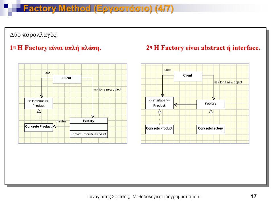 Παναγιώτης Σφέτσος, Μεθοδολογίες Προγραμματισμού ΙΙ 17 Factory Method (Εργοστάσιο) (4/7) Δύο παραλλαγές: 1 η Η Factory είναι απλή κλάση.2 η Η Factory είναι abstract ή interface.