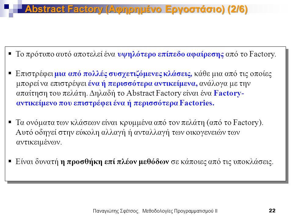 Παναγιώτης Σφέτσος, Μεθοδολογίες Προγραμματισμού ΙΙ 22 Abstract Factory (Αφηρημένο Εργοστάσιο) (2/6)  Το πρότυπο αυτό αποτελεί ένα υψηλότερο επίπεδο αφαίρεσης από το Factory.