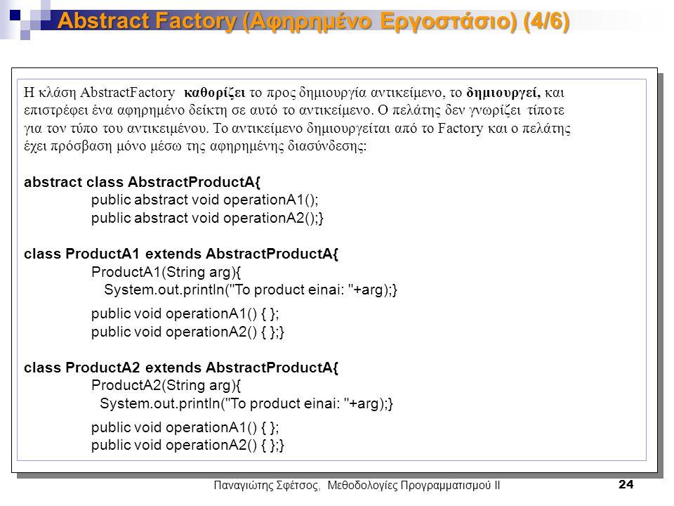 Παναγιώτης Σφέτσος, Μεθοδολογίες Προγραμματισμού ΙΙ 24 Abstract Factory (Αφηρημένο Εργοστάσιο) (4/6) Η κλάση AbstractFactory καθορίζει το προς δημιουργία αντικείμενο, το δημιουργεί, και επιστρέφει ένα αφηρημένο δείκτη σε αυτό το αντικείμενο.