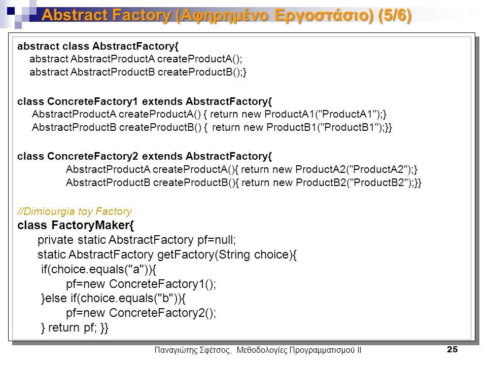 Παναγιώτης Σφέτσος, Μεθοδολογίες Προγραμματισμού ΙΙ 25 Abstract Factory (Αφηρημένο Εργοστάσιο) (5/6) abstract class AbstractFactory{ abstract AbstractProductA createProductA(); abstract AbstractProductB createProductB();} class ConcreteFactory1 extends AbstractFactory{ AbstractProductA createProductA() { return new ProductA1( ProductA1 );} AbstractProductB createProductB() {return new ProductB1( ProductB1 );}} class ConcreteFactory2 extends AbstractFactory{ AbstractProductA createProductA(){ return new ProductA2( ProductA2 );} AbstractProductB createProductB(){ return new ProductB2( ProductB2 );}} //Dimiourgia toy Factory class FactoryMaker{ private static AbstractFactory pf=null; static AbstractFactory getFactory(String choice){ if(choice.equals( a )){ pf=new ConcreteFactory1(); }else if(choice.equals( b )){ pf=new ConcreteFactory2(); } return pf; }}