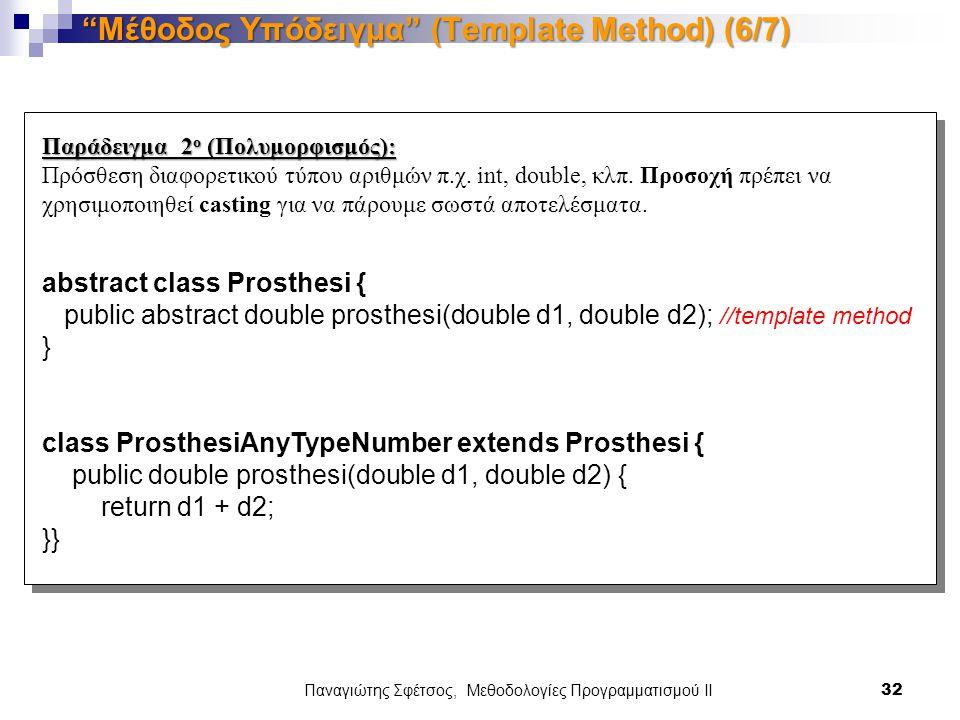 Παναγιώτης Σφέτσος, Μεθοδολογίες Προγραμματισμού ΙΙ 32 Μέθοδος Υπόδειγμα (Template Method) (6/7) Παράδειγμα 2 ο (Πολυμορφισμός): Πρόσθεση διαφορετικού τύπου αριθμών π.χ.