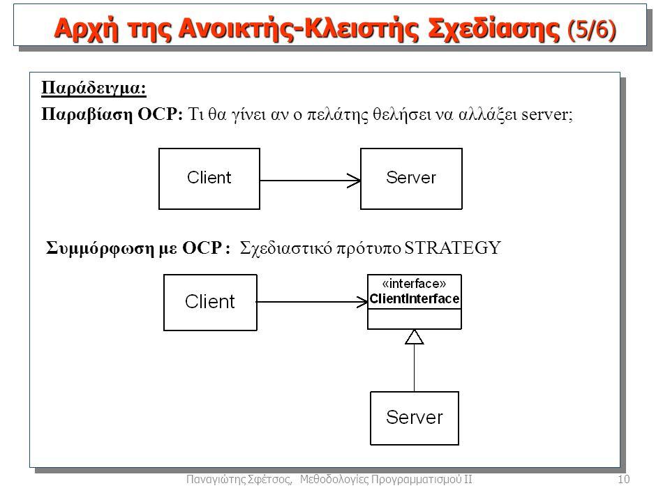 10Παναγιώτης Σφέτσος, Μεθοδολογίες Προγραμματισμού ΙΙ Παράδειγμα: Παραβίαση OCP: Τι θα γίνει αν ο πελάτης θελήσει να αλλάξει server; Αρχή της Ανοικτής-Κλειστής Σχεδίασης (5/6) Συμμόρφωση με OCP : Σχεδιαστικό πρότυπο STRATEGY