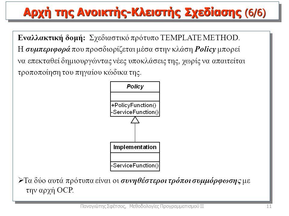 11Παναγιώτης Σφέτσος, Μεθοδολογίες Προγραμματισμού ΙΙ Εναλλακτική δομή: Σχεδιαστικό πρότυπο TEMPLATE METHOD.