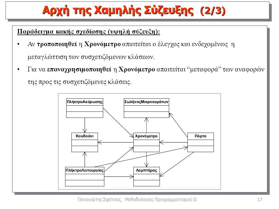 17Παναγιώτης Σφέτσος, Μεθοδολογίες Προγραμματισμού ΙΙ Παράδειγμα κακής σχεδίασης (υψηλή σύζευξη): Αν τροποποιηθεί η Χρονόμετρο απαιτείται ο έλεγχος και ενδεχομένως η μεταγλώττιση των συσχετιζόμενων κλάσεων.