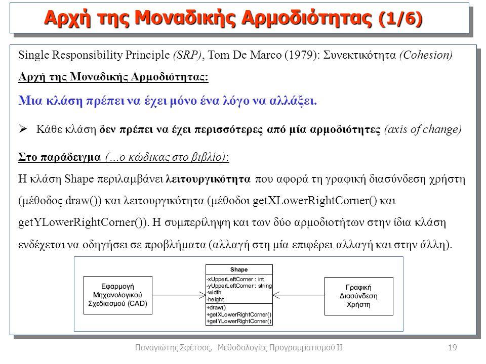 19Παναγιώτης Σφέτσος, Μεθοδολογίες Προγραμματισμού ΙΙ Single Responsibility Principle (SRP), Tom De Marco (1979): Συνεκτικότητα (Cohesion) Αρχή της Μοναδικής Αρμοδιότητας: Μια κλάση πρέπει να έχει μόνο ένα λόγο να αλλάξει.