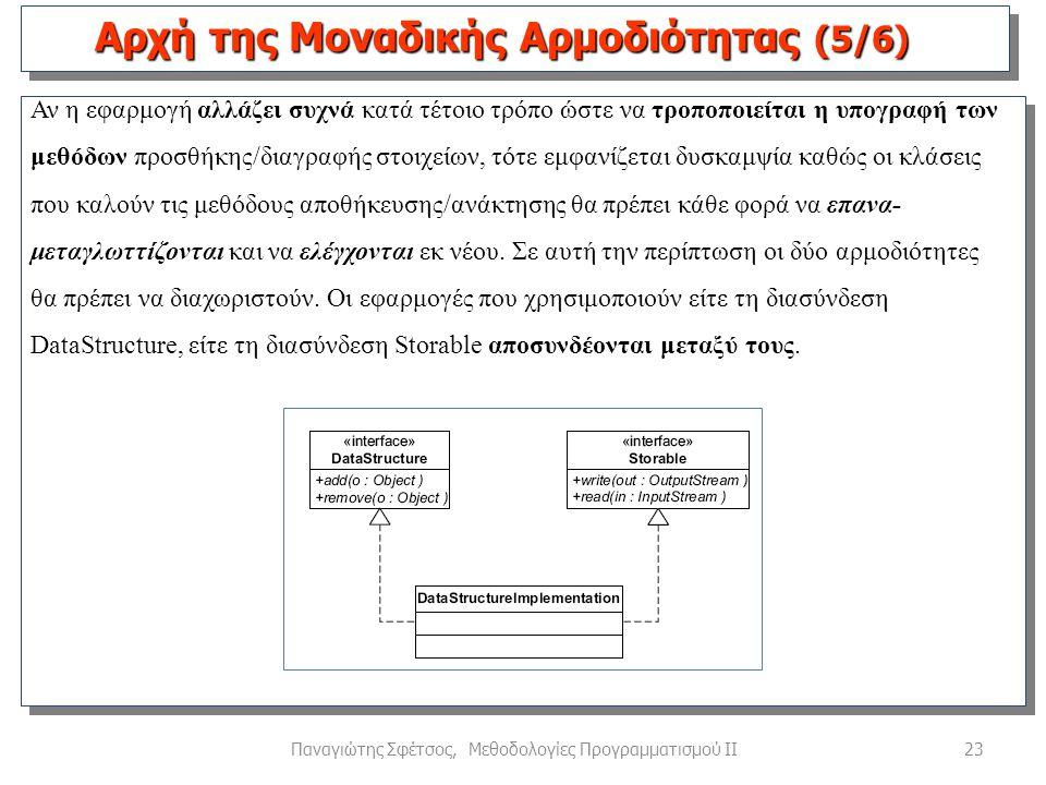 23Παναγιώτης Σφέτσος, Μεθοδολογίες Προγραμματισμού ΙΙ Αν η εφαρμογή αλλάζει συχνά κατά τέτοιο τρόπο ώστε να τροποποιείται η υπογραφή των μεθόδων προσθήκης/διαγραφής στοιχείων, τότε εμφανίζεται δυσκαμψία καθώς οι κλάσεις που καλούν τις μεθόδους αποθήκευσης/ανάκτησης θα πρέπει κάθε φορά να επανα- μεταγλωττίζονται και να ελέγχονται εκ νέου.