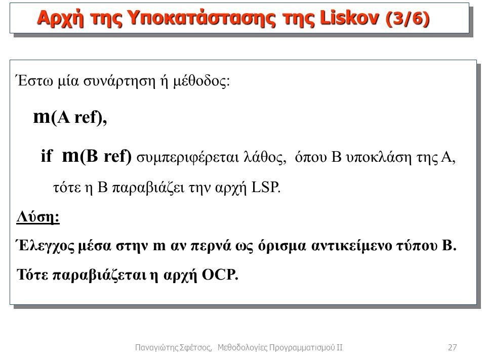 27Παναγιώτης Σφέτσος, Μεθοδολογίες Προγραμματισμού ΙΙ Έστω μία συνάρτηση ή μέθοδος: m (A ref), if m (B ref) συμπεριφέρεται λάθος, όπου B υποκλάση της A, τότε η Β παραβιάζει την αρχή LSP.