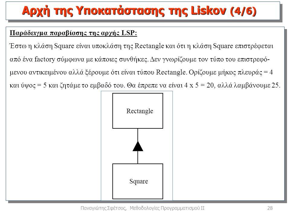 28Παναγιώτης Σφέτσος, Μεθοδολογίες Προγραμματισμού ΙΙ Παράδειγμα παραβίασης της αρχής LSP: Έστω η κλάση Square είναι υποκλάση της Rectangle και ότι η κλάση Square επιστρέφεται από ένα factory σύμφωνα με κάποιες συνθήκες.