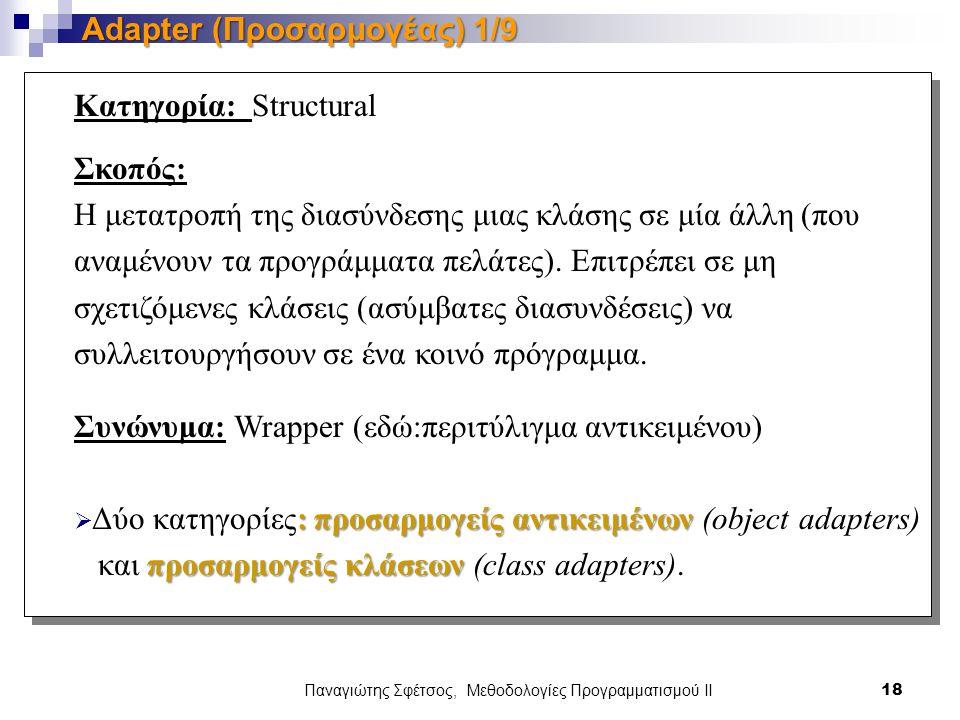 Παναγιώτης Σφέτσος, Μεθοδολογίες Προγραμματισμού ΙΙ 18 Adapter (Προσαρμογέας) 1/9 Κατηγορία: Structural Σκοπός: Η μετατροπή της διασύνδεσης μιας κλάσης σε μία άλλη (που αναμένουν τα προγράμματα πελάτες).