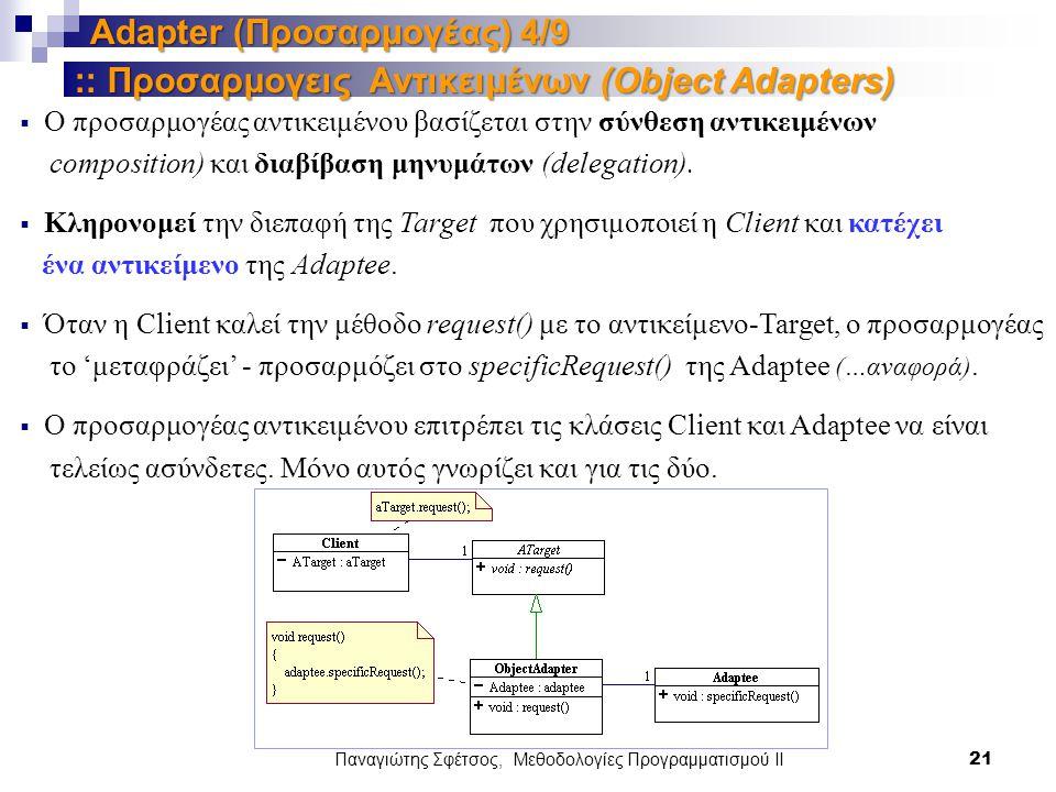 Παναγιώτης Σφέτσος, Μεθοδολογίες Προγραμματισμού ΙΙ 21 Adapter (Προσαρμογέας) 4/9  Ο προσαρμογέας αντικειμένου βασίζεται στην σύνθεση αντικειμένων composition) και διαβίβαση μηνυμάτων (delegation).