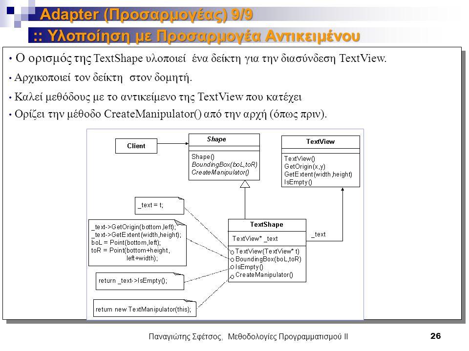 Παναγιώτης Σφέτσος, Μεθοδολογίες Προγραμματισμού ΙΙ 26 Adapter (Προσαρμογέας) 9/9 Υλοποίηση με Προσαρμογέα Αντικειμένου :: Υλοποίηση με Προσαρμογέα Αντικειμένου Ο ορισμός της TextShape υλοποιεί ένα δείκτη για την διασύνδεση TextView.