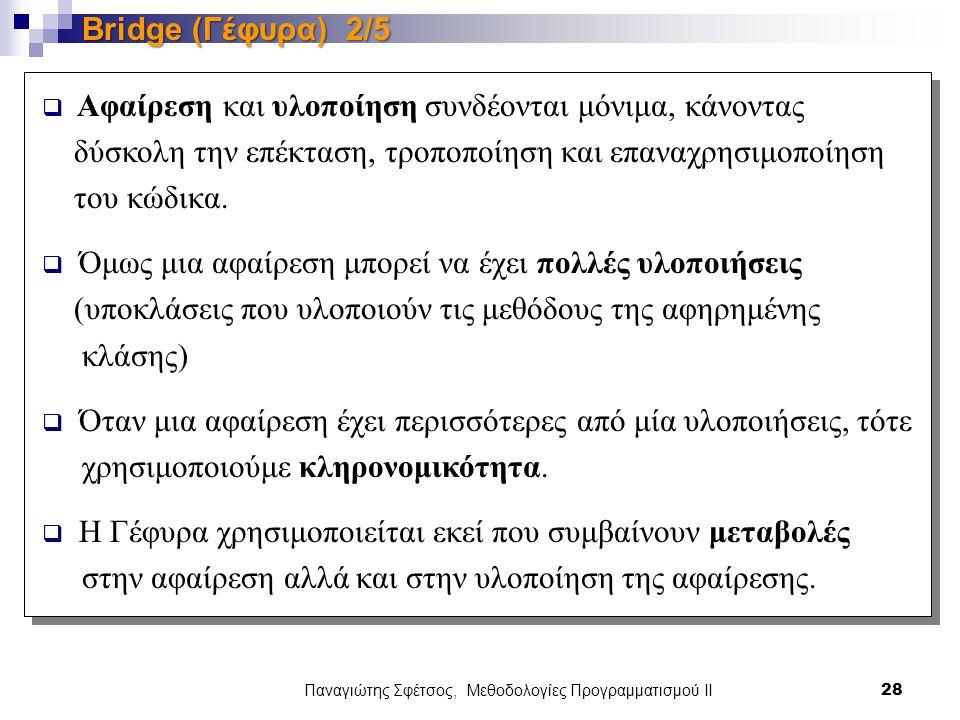 Παναγιώτης Σφέτσος, Μεθοδολογίες Προγραμματισμού ΙΙ 28 Bridge (Γέφυρα) 2/5  Αφαίρεση και υλοποίηση συνδέονται μόνιμα, κάνοντας δύσκολη την επέκταση, τροποποίηση και επαναχρησιμοποίηση του κώδικα.