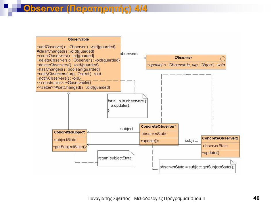Παναγιώτης Σφέτσος, Μεθοδολογίες Προγραμματισμού ΙΙ 46 Observer (Παρατηρητής) 4/4