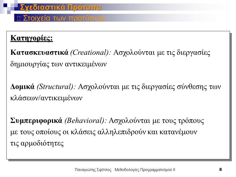 Παναγιώτης Σφέτσος, Μεθοδολογίες Προγραμματισμού ΙΙ 8 Σχεδιαστικά Πρότυπα Κατηγορίες: Κατασκευαστικά (Creational): Ασχολούνται με τις διεργασίες δημιουργίας των αντικειμένων Δομικά (Structural): Ασχολούνται με τις διεργασίες σύνθεσης των κλάσεων/αντικειμένων Συμπεριφορικά (Behavioral): Ασχολούνται με τους τρόπους με τους οποίους οι κλάσεις αλληλεπιδρούν και κατανέμουν τις αρμοδιότητες :: Στοιχεία των προτύπων