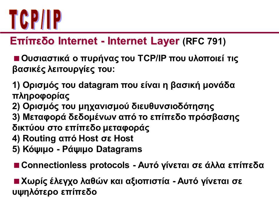 Επίπεδo Internet - Internet Layer Επίπεδo Internet - Internet Layer (RFC 791)  Ουσιαστικά ο πυρήνας του TCP/IP που υλοποιεί τις βασικές λειτουργίες του: 1) Ορισμός του datagram που είναι η βασική μονάδα πληροφορίας 2) Ορισμός του μηχανισμού διευθυνσιοδότησης 3) Μεταφορά δεδομένων από το επίπεδο πρόσβασης δικτύου στο επίπεδο μεταφοράς 4) Routing από Host σε Host 5) Κόψιμο - Ράψιμο Datagrams  Connectionless protocols - Αυτό γίνεται σε άλλα επίπεδα  Χωρίς έλεγχο λαθών και αξιοπιστία - Αυτό γίνεται σε υψηλότερο επίπεδο