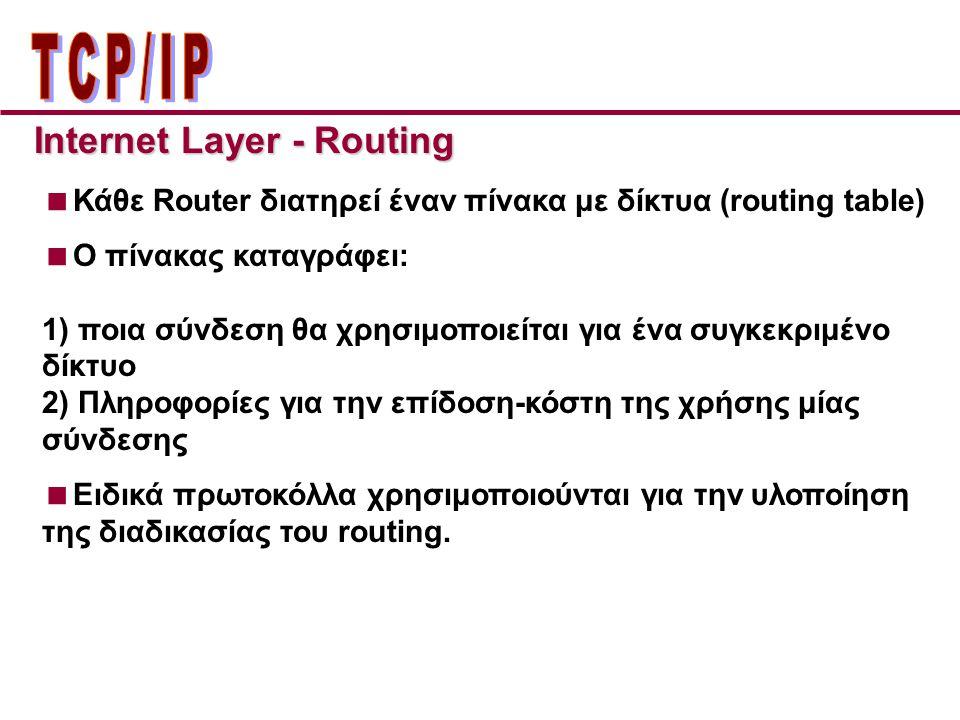  Κάθε Router διατηρεί έναν πίνακα με δίκτυα (routing table)  O πίνακας καταγράφει: 1) ποια σύνδεση θα χρησιμοποιείται για ένα συγκεκριμένο δίκτυο 2) Πληροφορίες για την επίδοση-κόστη της χρήσης μίας σύνδεσης  Ειδικά πρωτοκόλλα χρησιμοποιούνται για την υλοποίηση της διαδικασίας του routing.