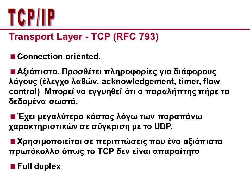 Transport Layer - TCP (RFC 793)  Connection oriented.  Αξιόπιστο. Προσθέτει πληροφορίες για διάφορους λόγους (έλεγχο λαθών, acknowledgement, timer,
