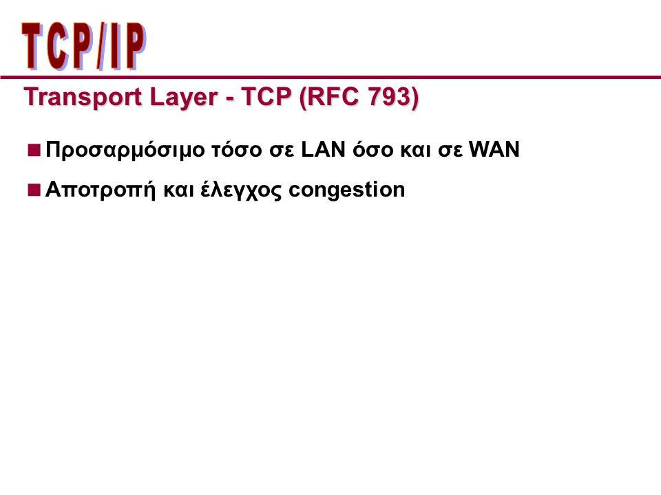 Transport Layer - TCP (RFC 793)  Προσαρμόσιμο τόσο σε LAN όσο και σε WAN  Αποτροπή και έλεγχος congestion