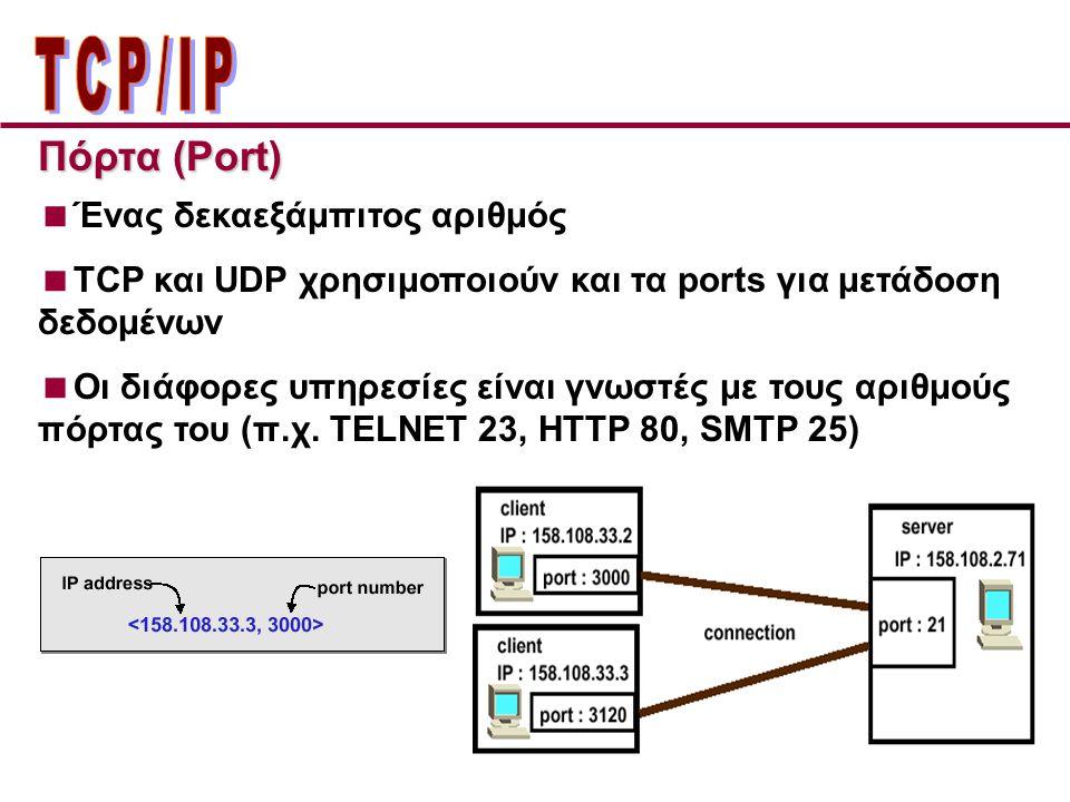 Πόρτα (Port)  Ένας δεκαεξάμπιτος αριθμός  TCP και UDP χρησιμοποιούν και τα ports για μετάδοση δεδομένων  Οι διάφορες υπηρεσίες είναι γνωστές με τους αριθμούς πόρτας του (π.χ.