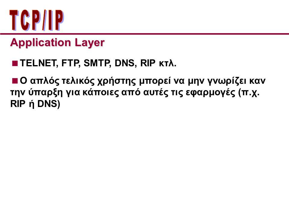 Application Layer  TELNET, FTP, SMTP, DNS, RIP κτλ.  Ο απλός τελικός χρήστης μπορεί να μην γνωρίζει καν την ύπαρξη για κάποιες από αυτές τις εφαρμογ
