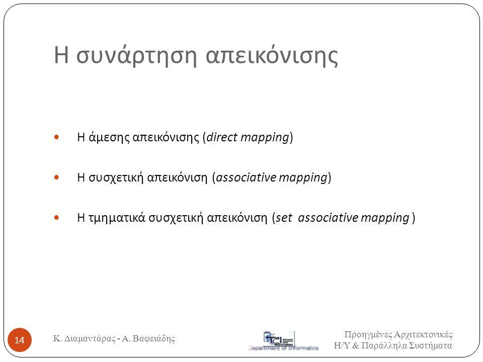 H συνάρτηση απεικόνισης Η άμεσης απεικόνισης (direct mapping) H συσχετική απεικόνιση (associative mapping) Η τμηματικά συσχετική απεικόνιση (set associative mapping ) Προηγμένες Αρχιτεκτονικές Η / Υ & Παράλληλα Συστήματα 14 Κ.