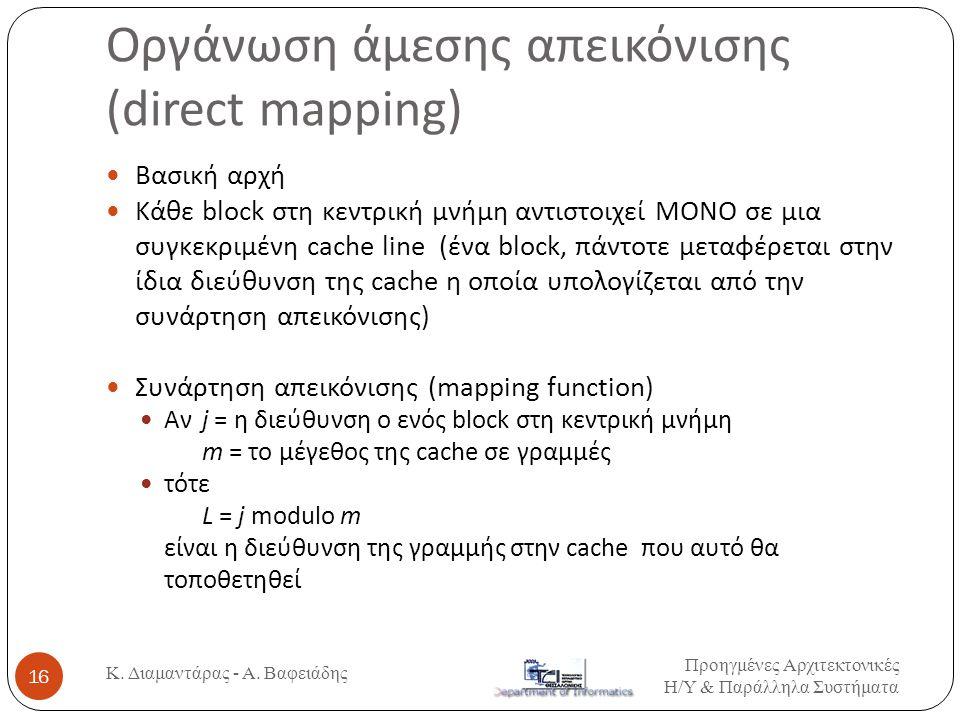 Οργάνωση άμεσης απεικόνισης (direct mapping) Προηγμένες Αρχιτεκτονικές Η / Υ & Παράλληλα Συστήματα Κ.